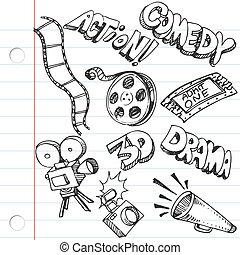 doodles, papel, caderno, entretenimento