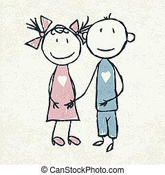 doodles, par, love., vector., ilustração