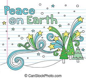 doodles, paz, árvores natal