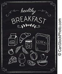 doodles, petit déjeuner, noir, planche
