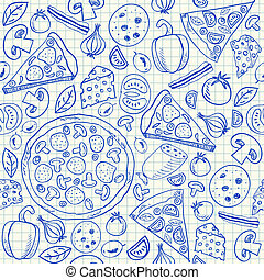doodles, pizza, seamless, mönster