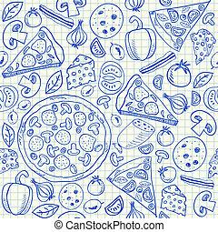 doodles, pizza, seamless, mönster