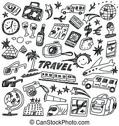doodles, podróż, komplet, -