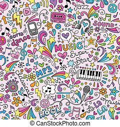 doodles, quaderno, musica, modello