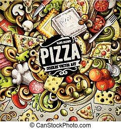 doodles, ram, vektor, tecknad film, pizza