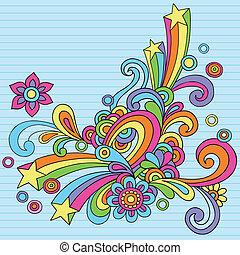 doodles, resumen, retro, psicodélico
