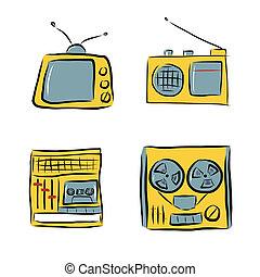 doodles, retro, électronique