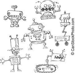 doodles, robot, isolato
