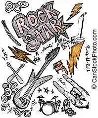 doodles, rockstar, dibujo, mano