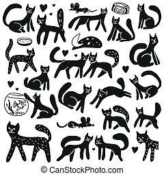 doodles, sätta, -, katter