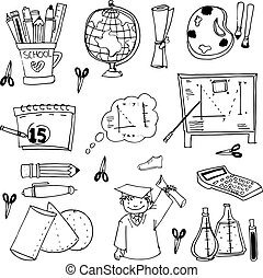 Doodles school education vector