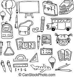 doodles, school, voorwerp, opleiding