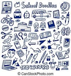 doodles, scuola, educazione, -