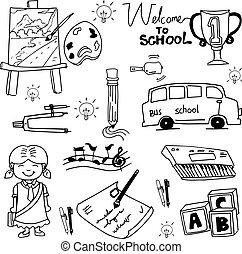 doodles, scuola, educazione, oggetto