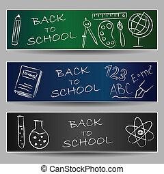 doodles, scuola, indietro, bandiere