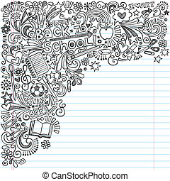 doodles, scuola, quaderno, indietro, inchiostro