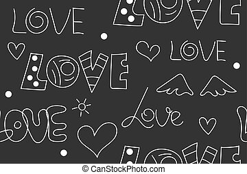 Doodles seamless pattern love