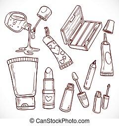 doodles, set, cosmetica