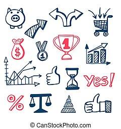 doodles, set, icone affari