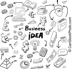 doodles, set., idea, icone affari