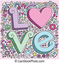 doodles, set, liefde, aantekenboekje, valentijn