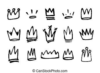 Doodles set of hand drawn crowns. Vector illustration