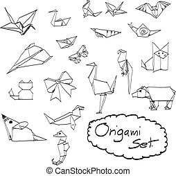 doodles set of origami hand drawn vector