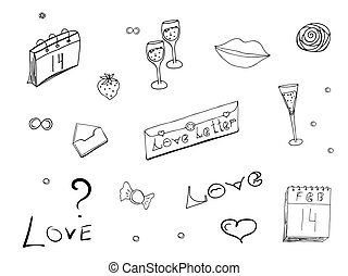 Doodles set on Valentine's Day. Monochrome love symbols, hearts and lettering isolated on white background. Love, romance and tenderness. Vector illustration.