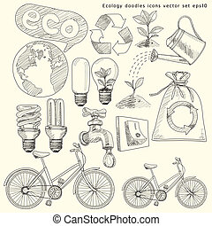 doodles, set., vettore, ecologia, icone