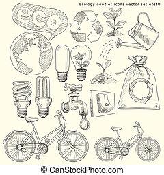 doodles, set., wektor, ekologia, ikony