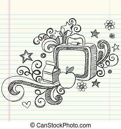 doodles, sketchy, école, lunchbox