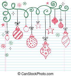 doodles, sketchy, χριστουγεννιάτικη διακόσμηση