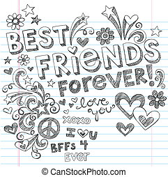 doodles, sketchy, וקטור, ידידים, הכי טוב