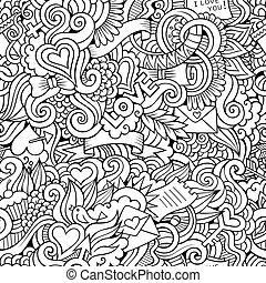 doodles, sketchy, amore, seamless, modello