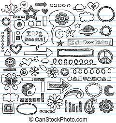doodles, sketchy, cahier, ensemble, icône