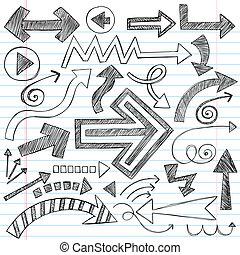 doodles, sketchy, cahier, flèches, ensemble