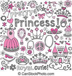 doodles, sketchy, conjunto, tiara, princesa