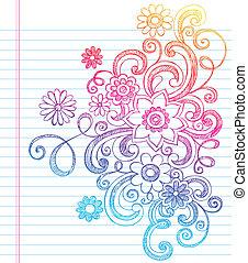 doodles, sketchy, flores, caderno