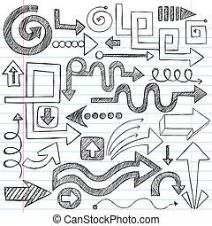 doodles, sketchy, notatnik, strzały, vec