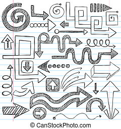 doodles, sketchy, notizbuch, pfeile, vec