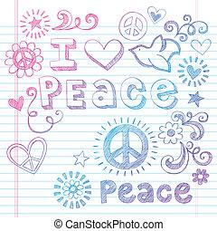 doodles, sketchy, paz, amor, pomba