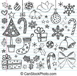 doodles, sketchy, set, kerstmis