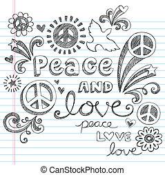 doodles, sketchy, set, liefde, vrede