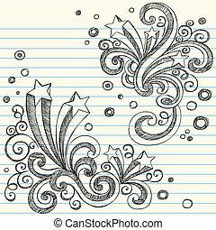 doodles, sketchy, starburst