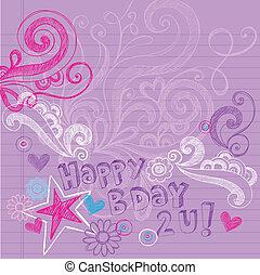 doodles, sketchy, vecteur, anniversaire