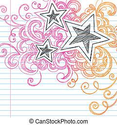 doodles, sketchy, vecteur, conception, étoiles