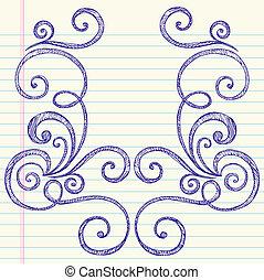doodles, sketchy, vecteur, tourbillons, cadre