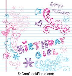 doodles, sketchy, vector, conjunto, cumpleaños