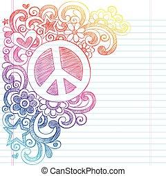 doodles, sketchy, vektor, friedensvorzeichen