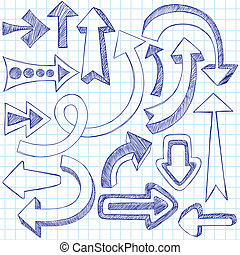 doodles, sketchy, vektor, pfeile, satz